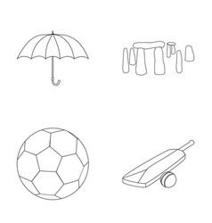 Umbrella stone ball cricket england country vector