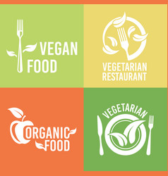vegetarian food and organic products logos vector image