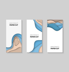 vertical flyers with paper cut waves shapes 3d vector image