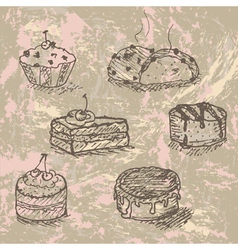 Vintage cakes vector