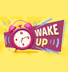 wake up poster good morning alarm clock ringing vector image
