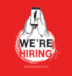 We are hiring sign with businesswoman silhouette vector