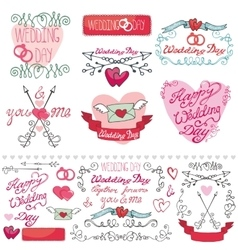Wedding decor elements setLabelscardsinvitation vector image