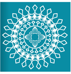 white flower mandala blue background image vector image