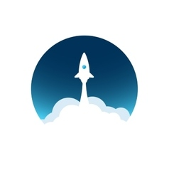 White rocket with cloud and blue sky circle icon vector image
