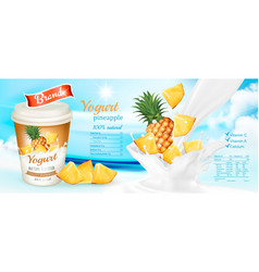 white yogurt with fresh pineapple advertisment vector image