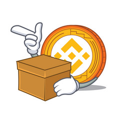With box binance coin character catoon vector
