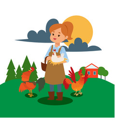 Woman live and work on farm vector