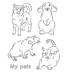 cat dog rabbit rat vector image