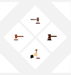 Flat icon hammer set of law defense government vector