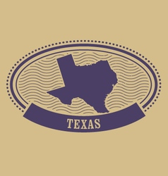 Oval stamp with Texas map contour vector image vector image