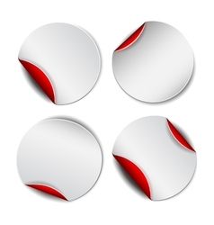 Set of white round promotional stickers with red vector image vector image