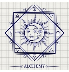 Sketch of sun moon and elements vector image vector image