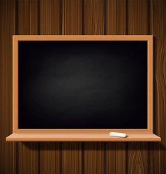 Blackboard with a chalk on a wooden wall vector image vector image