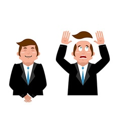 Businessman set Joyful man in suit Man and wig vector image