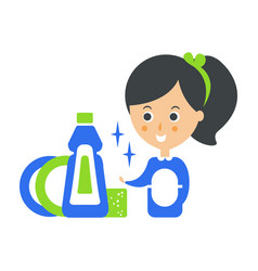 cleanup service maid and clean dishes cleaning vector image vector image