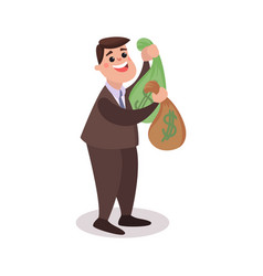 happy millionaire character holding money bags vector image