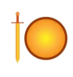Set of sign shield and sword gold R 2208 vector image