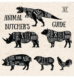 Butchery shop animal set vector image