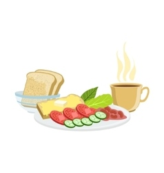 Coffee Vegetables Toasts And Beans Breakfast vector image vector image