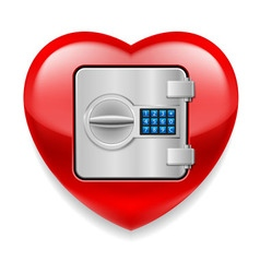 Shiny red heart as a safe vector image vector image