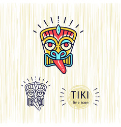 Tiki icons colorful design tiki mask head thin vector