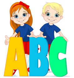 Two kids and letters vector image