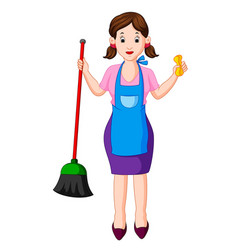 young housewife with broom vector image