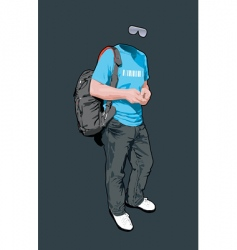 young man with a backpack vector image vector image