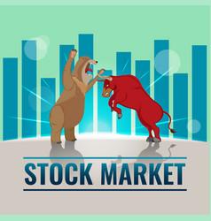 bull bear business stock market background vector image