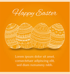 easter eggs set collection on orange background vector image vector image