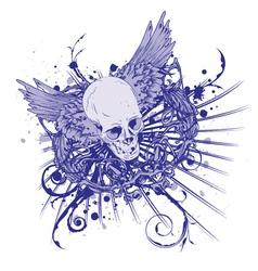 grunge vintage emblem with skull vector image vector image