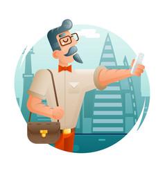 hipster geek mobile phone selfie businessman vector image vector image