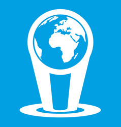 hologram globe icon white vector image