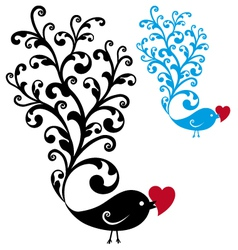 ornamental bird with red heart vector image vector image