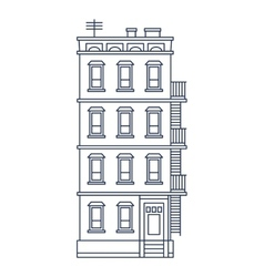 - line drawn old building with balcony and stairs vector