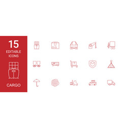 15 cargo icons vector image
