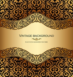 Antique victorian gold ornamental card vector