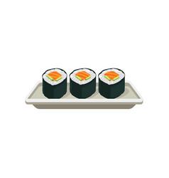 appetizing salmon rolls hosomaki sushi vector image