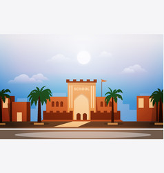 Arab school building study learning education vector