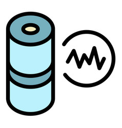 Audio wave smart speaker icon color outline vector
