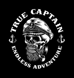 bearded sea captain skull with smoking pipe vector image