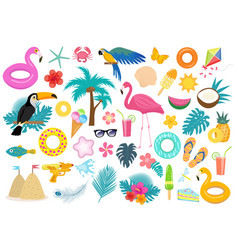 Big tropical icon set with birds and flowers flat vector