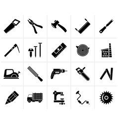 Black Carpentry logging and woodworking icons vector image