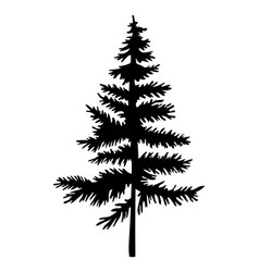 black silhouette fir-tree christmas tree vector image