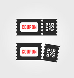Black ticket coupon icon with qr code vector