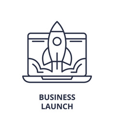 business launch line icon concept business launch vector image