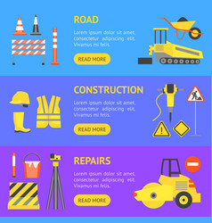 cartoon road construction banner horizontal set vector image