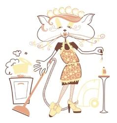 Cat housewife vector