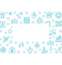 christmas blue outline frame on white vector image